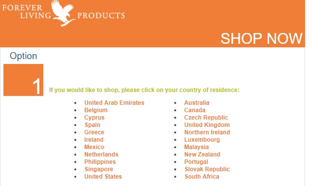 Shop Forever Living Products per l'estero